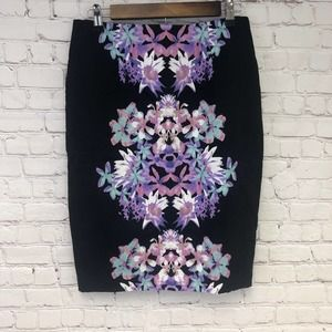 Mossimo Stretch Extensible Floral Pencil Skirt, 10